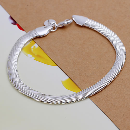 H164 Wholesale! Free Shipping Wholesale 925 silver bracelet,hot 925 solid silver fashion jewelry Flat Snake Bone Bracelet&Bangle(China (Mainland))