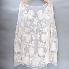 Long Sleeve Lace Blouse Ladies Cute Floral Embroidery Lace Tops White Beige See-through Sexy Women Beach Cover Up dentelle