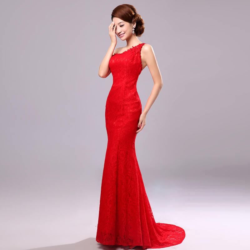 2015 Fashion One Shoulder Mermaid Evening Dress Sexy Slim Fish Tail Train Lace Formal Prom