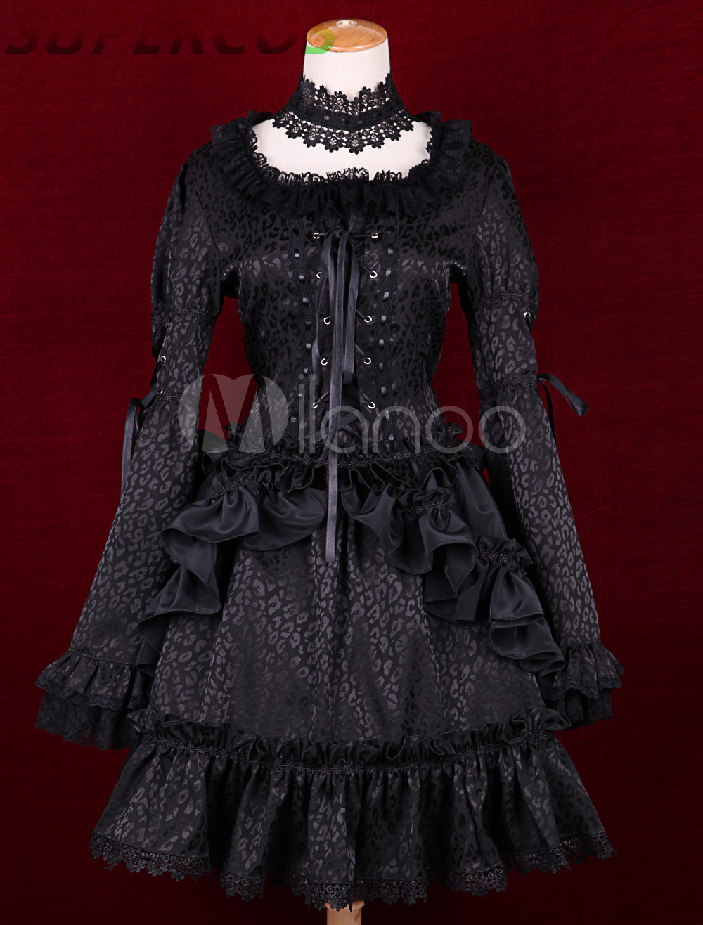 Free shipping! New Arrivals! High quality! Black Satin Square Neck Long Sleeves Ruffles Gothic Lolita Dress
