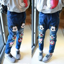 2014 autumn and winter children's clothing for girls Mickey cartoon jeans pants boys and girls fashion cowboys harem trousers(China (Mainland))
