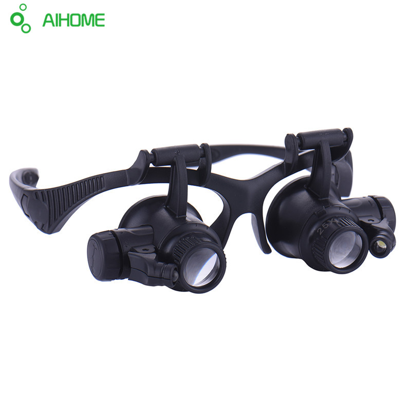 1pcs Magnifying Glasses Resin Lupa 10X 15X 20X 25X Eye Jewelry Watch Repair Magnifier Glasses With 2 LED Lights Loupe Microscope