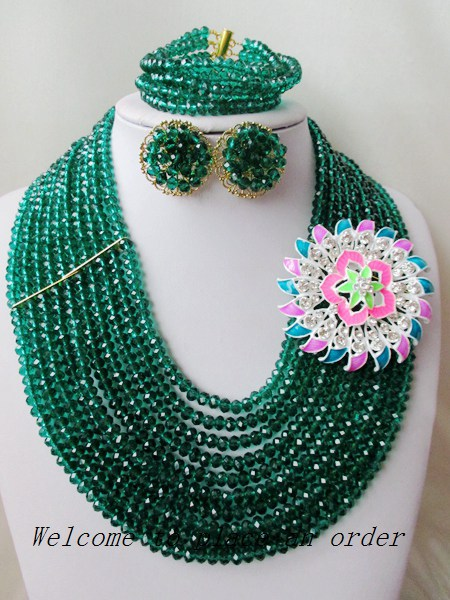 2015 Fashion Army Green african crystal beads necklace set nigerian wedding african beads jewelry set Free shipping P-1533<br><br>Aliexpress