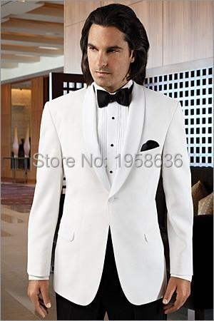 White Peak Lapel Mens Tuxedos Wedding Suit For Men With Pants One Button Groom (Jacket+Pants) Îäåæäà è àêñåññóàðû<br><br>