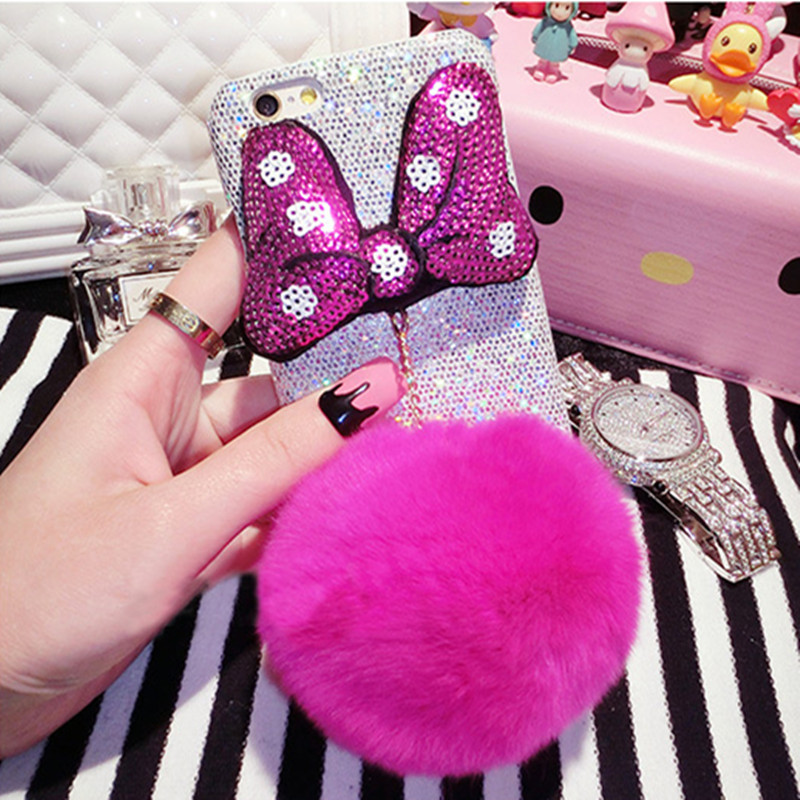 Lovely Fashion Rabbit fur pompom Fluffy ball butterfly trimming Bling bling Phone cases for iphone 6 6s 6 plus back coverring()