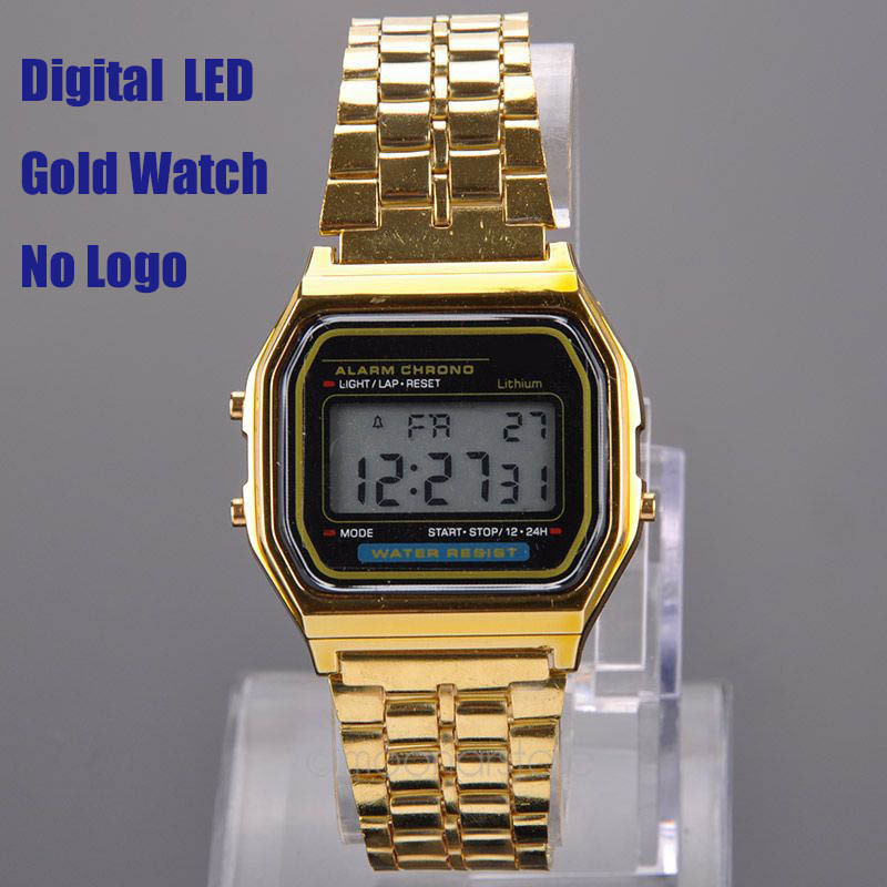 Luxury Gold Watch Metal 80's Fashion Vintage Digital Watch Display Date Alrm Stopwatch Retro Watch Unisex Watches PMHM102*30(China (Mainland))