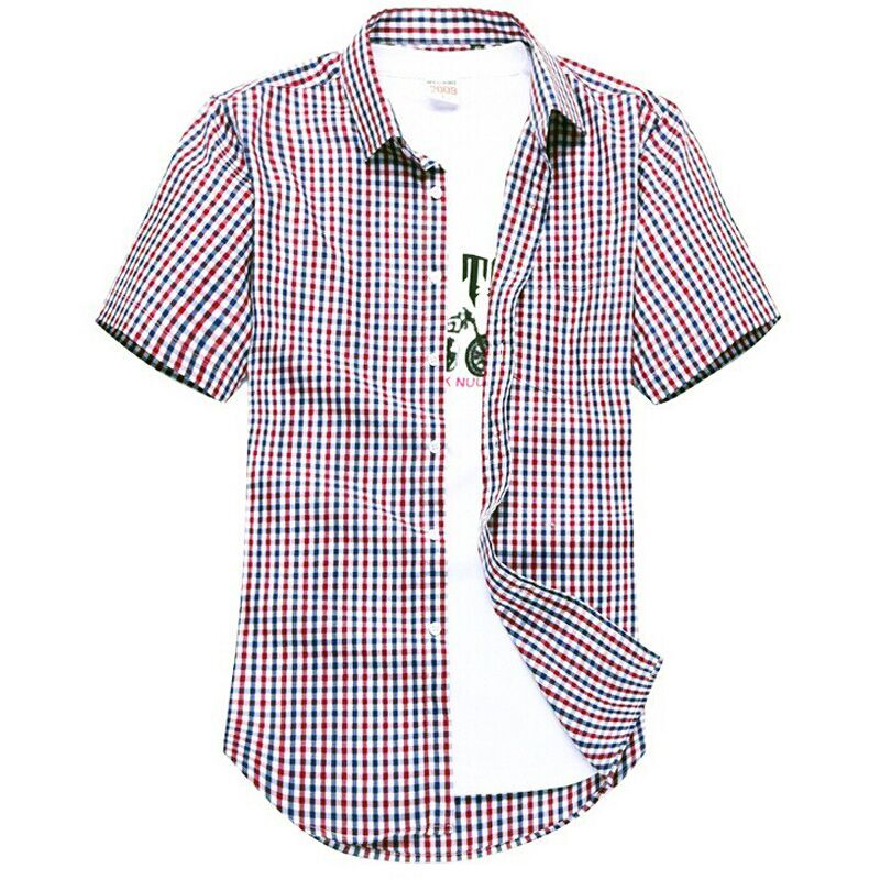 Men's short-sleeved plaid shirt summer new fashion England shirt mens slim fit casual shirts short sleeve shirts male(China (Mainland))