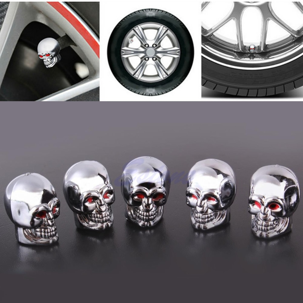 5Pc Skull Tire Tyre Wheel Car Auto Valves Caps Dust Stem Cover Motocycle Bicycle - on sale store