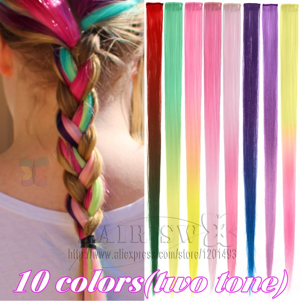 2014 free shipping 10 colors Long Solid Color Synthetic Clip On In Hair Party Highlights Extensions Straight Hair piece <br><br>Aliexpress