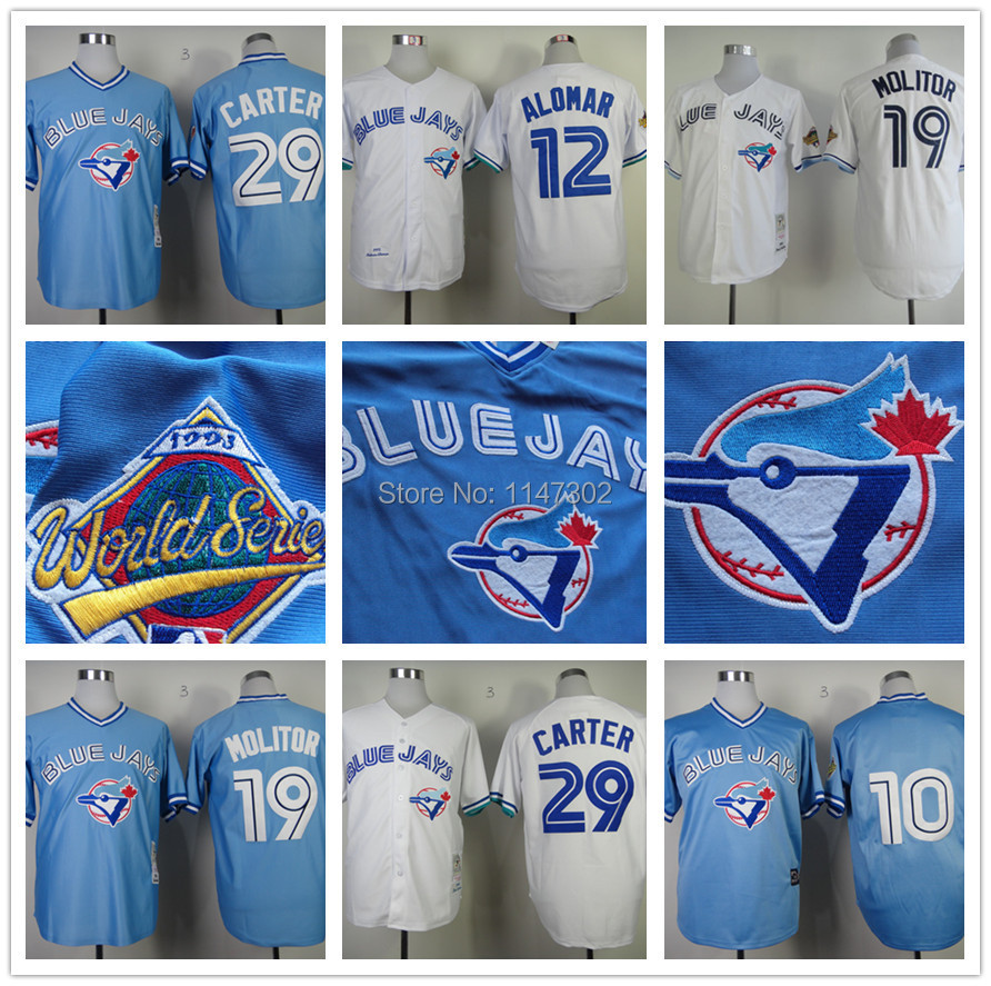 Vintage Toronto Blue Jays Jerseys Vernon Wells, Roger Clemens,Roberto Alomar,Paul Molitor,Joe Carter White Blue Grey(China (Mainland))