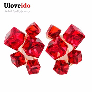 2016 Fashion Geometric Cubic Zirconia Crystal Earrings for Women Red Jewelry Earrings with Stones Earings Brincos Aneis GR124