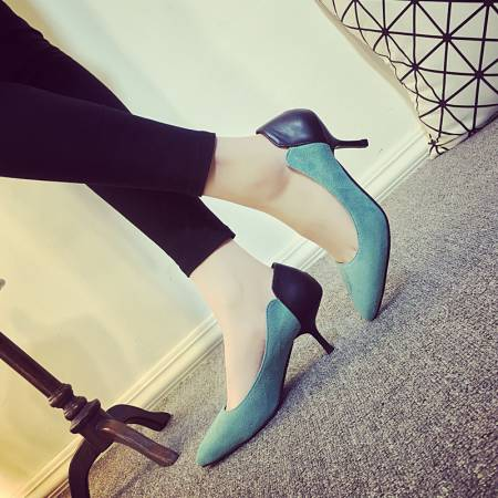 Europe America lady's heels 6cm pointed toes thin heel mixed colors flock surface casual sexy women's pumps160605-6 - Online Shoes Shop store