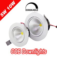 1pcs home led cob epistar recessed downlight dimmable 5w / 10w  led kitchen downlight 110v 220v(China (Mainland))