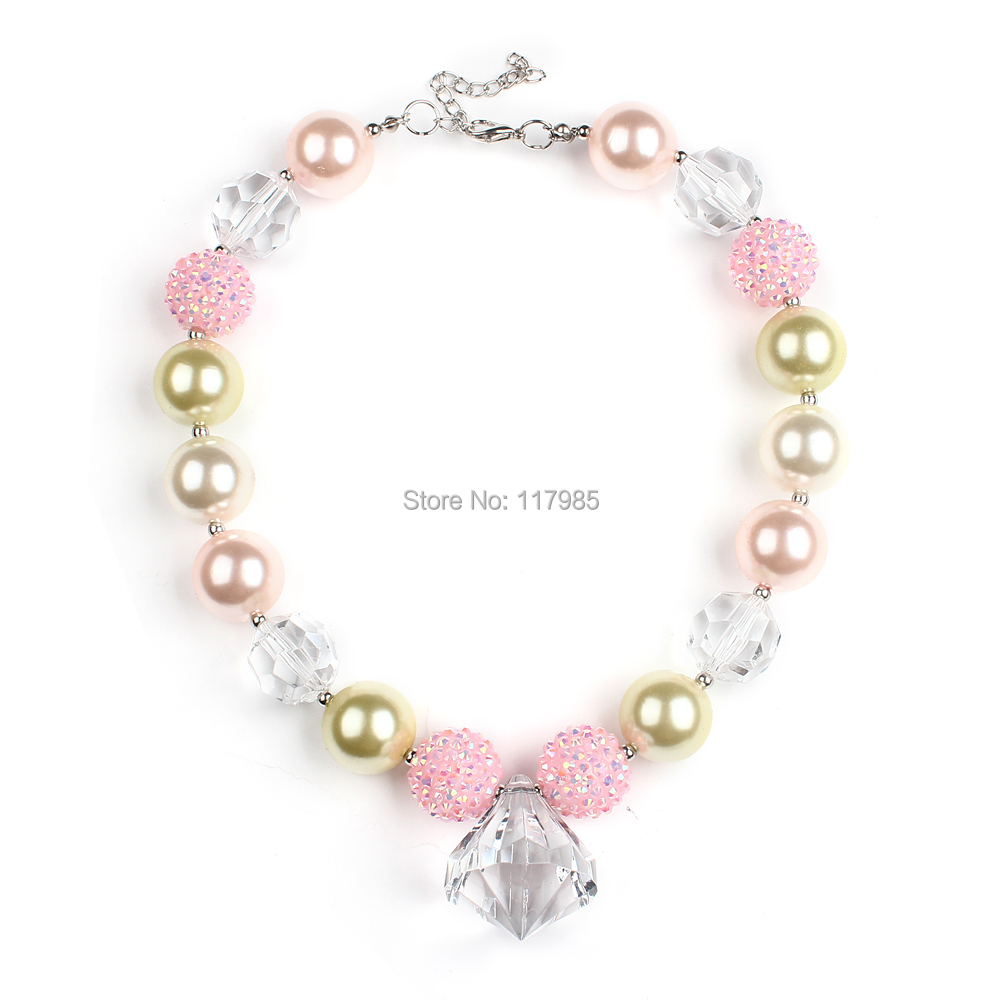 2Pcs Pink Clear Beaded Children Chunky Necklace Princess Girls Bubblegum Necklace Baby Children Jewelry Dress Up