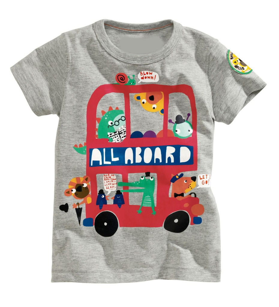 Children T Shirts Baby Girl Boy T Shirt 2015 New Bus Print