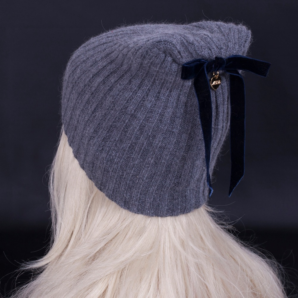 LIU JO 2015 women wool blended knitted hat . Bowknot adornment Pure color contracted female winter Beanie caps . Free shipping(China (Mainland))