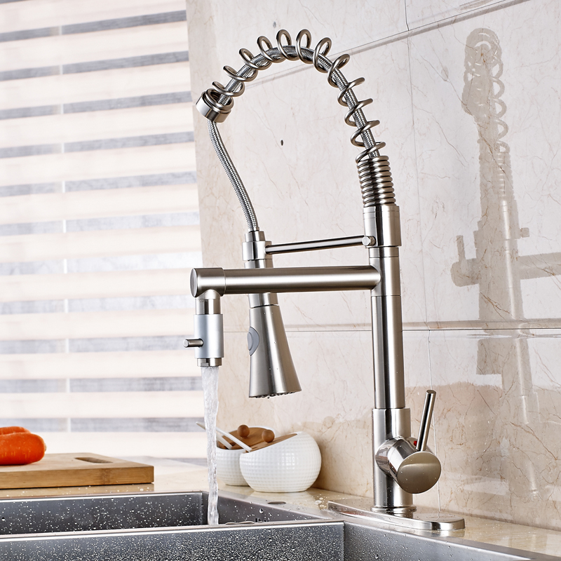 Фотография Wholesale and Retail Countertop Kitchen Sink Faucet Swivel Spout Mixer Tap Pull Out Faucet With Cover Plate