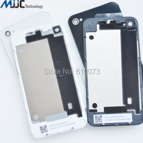 High Quality Battery Door Back Cover Rear Glass Case for iPhone 4G 4S Cover Case Black White 20PCS Free Shipping(China (Mainland))