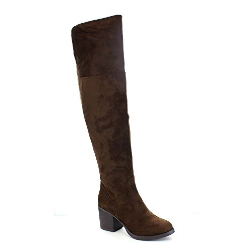 Women's Faux Leather Low Heels Side Zip Stacked Chunky Heel Plain Slouch Over The Knee Boot Long Boots Winter Keep Warm Shoes(China (Mainland))
