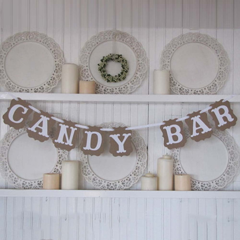 New Arrival Hot Baby Shower Sweet Baby Candy Bar Banner Bunting Garland Wedding Party DIY Romantic Vintage Decoration(China (Mainland))