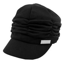 Wholesale 10PCs/Lot Women Girl Fashion Design Drape Layers Beanie Rib Hat Brim Visor Cap FFH010BLK Black(China (Mainland))