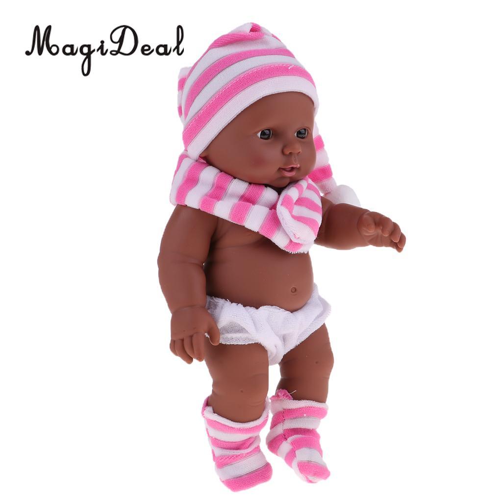 28cm Baby Doll Vinyl African Newborn Infant Baby Doll Black Skin in Pink Striped Hat Scarf Socks Kids Soft Toys