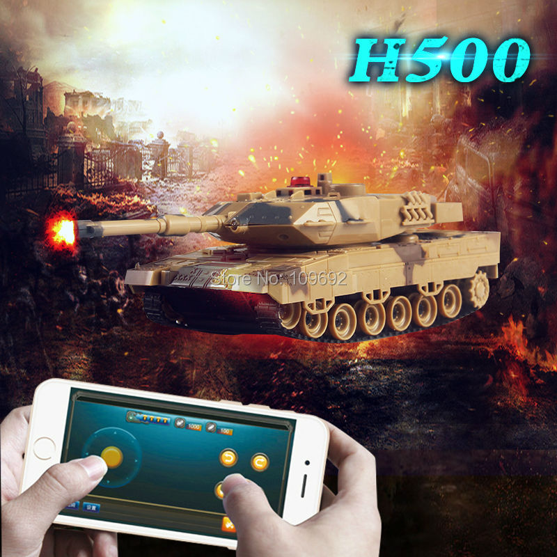 Free Shipping RC Tank H500 Battle Tank Model Toy 1:36 Phone Bluetooth Shooting Gravity Sensor Super Power Remote Control For Boy(China (Mainland))