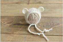 Handcraft Mohair fluffy crochet Teddy bear Bonnet, Hat, Beanie. Photography prop. Newborn ,Baby Photography Props