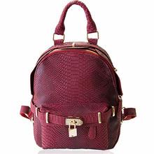 2016 Retro Fashion Alligator Embossed Leather Backpacks Teenager Girls Lock Safe School Bags Fashion Travel Bags Mochila Escolar(China (Mainland))