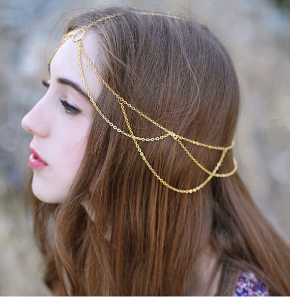 European Style Simple Fashion Trendy Hair Accessories Gold Plated Multilayer Link Chain Tassels Statement Punk Headband(China (Mainland))