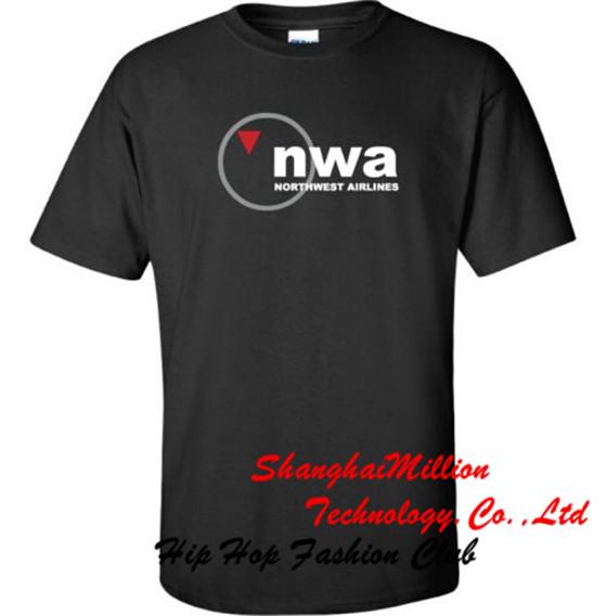 Unisex NWA Northwest Airlines Vintage US Airline Logo T-Shirt(China (Mainland))