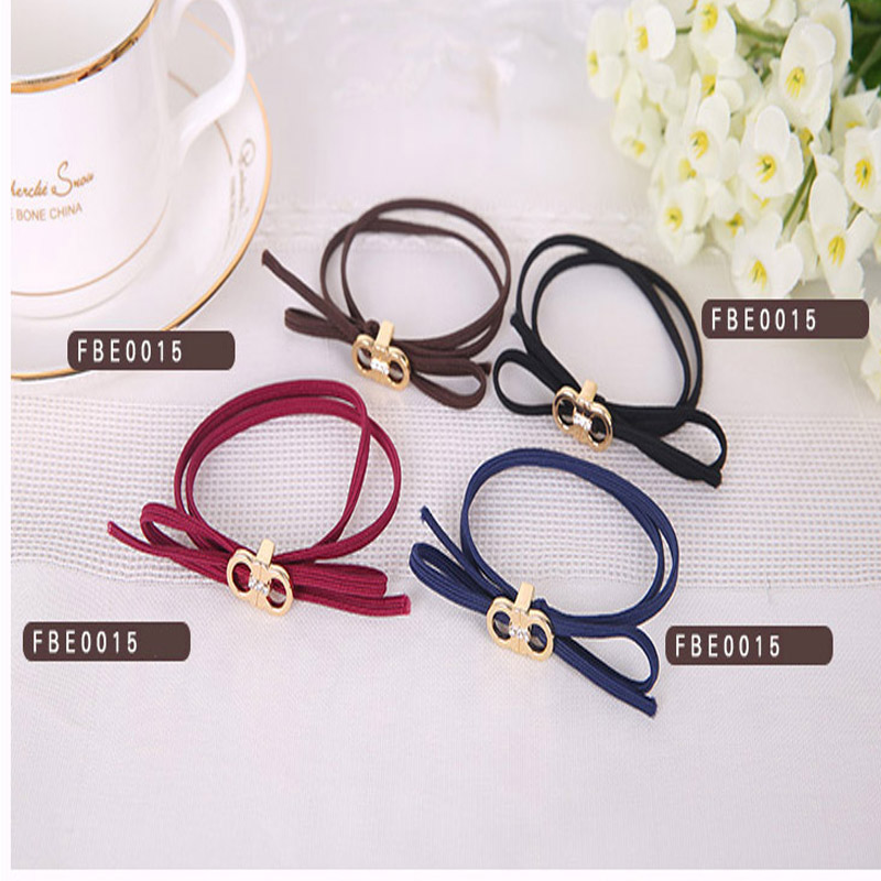 alloy Hair Holders High Quality Rubber Bands Hair Elastics Accessories Girl Women Tie Gum bow free shipping E0015(China (Mainland))