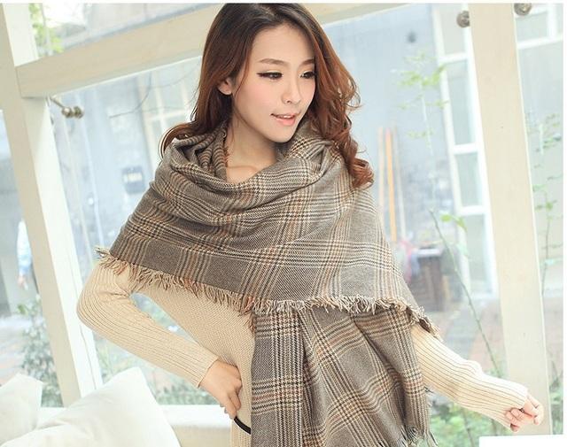 2016 зима горячая распродажа большой марка дизайн длинный хлопок плед бахромой шарфы толстый большой размер шаль бесплатная доставка