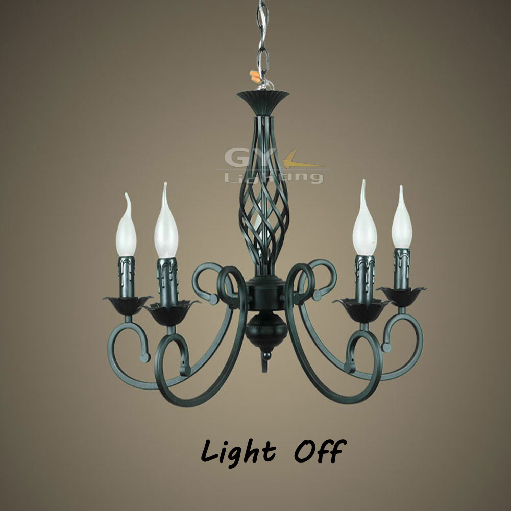 Tactical Black Wrought Iron chandelier lights fixture Pendant lamps luminaria E14 bulb pelucia lustres home GY-YLB-D503