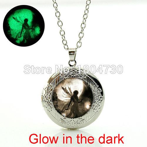Fairy Moonlight pendant necklace Glowing Dust Fairy pendant photo locket necklace Fashion girls jewelry collar necklace WNK301(China (Mainland))