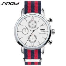Sinobi Men Casual Quartz watch Top Brand Luxury Classic Nylon Strap Chronograph Sport Men's Wristwatch Business Auto Date 2016