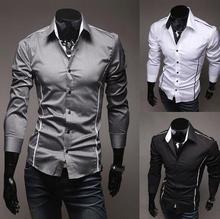 Fashion Men's Luxury Long Sleeve Casual Slim Fit Stylish Dress Shirts 3 colors