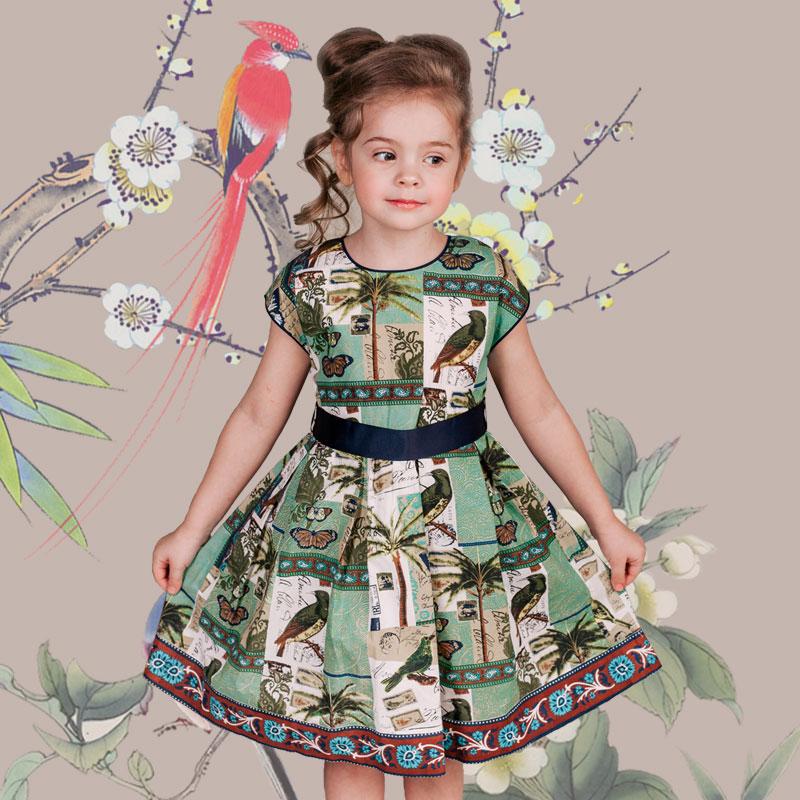 Girl Print Chinese Dress Toddler Girl Summer Fashion Dress Baby Girl Pattern Birthday Dress Party Dress for Kids Girl(China (Mainland))