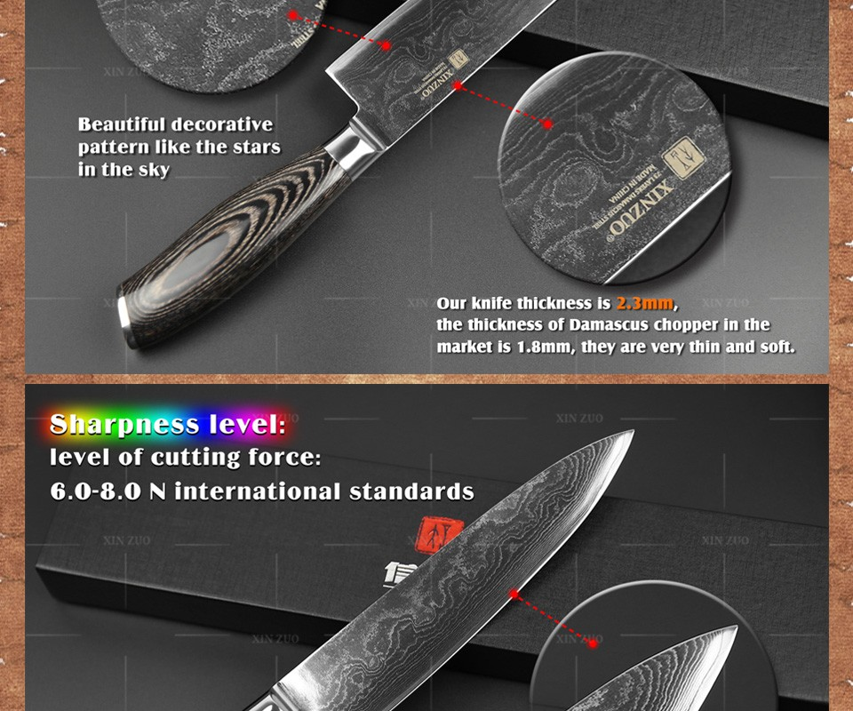"""Buy XINZUO 8"""" inch chef knife 73 layers Japan Damascus steel kitchen knife Color wood handle high quality sharp knife free shipping cheap"""