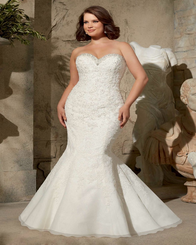 Curvy Mermaid Wedding Dresses With Sleeves
