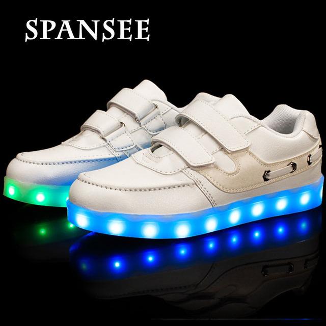Eur25-35 USB Зарядка Дети СВЕТОДИОДНЫЕ Обувь с Light Up Kids Fashion Повседневная Обувь Свет Светящиеся Кроссовки Мальчик Девочка Обуви Тапочки