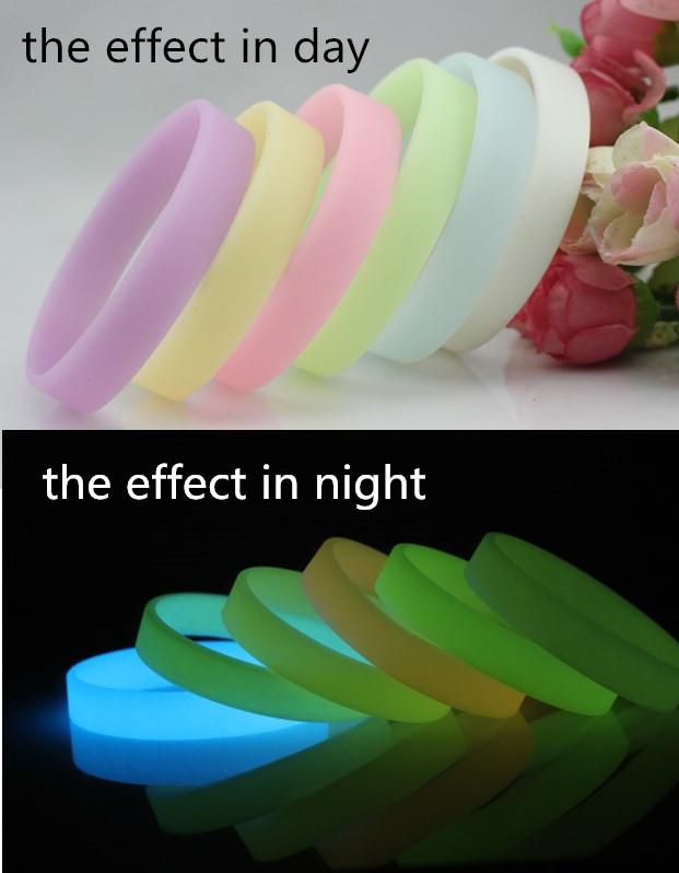 2015 2 pcs/lot NEW Fashion Glow in the Dark 6 Colors Luminous Bracelet Elastic Rubber wristband silicone bracelets Free Shipping(China (Mainland))
