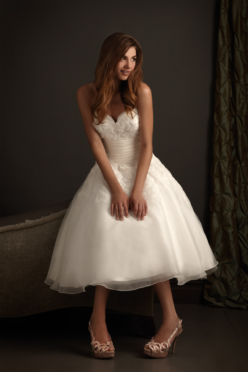 Simple sweetheart appliques wedding dress pleat fashion for Calf length wedding dresses