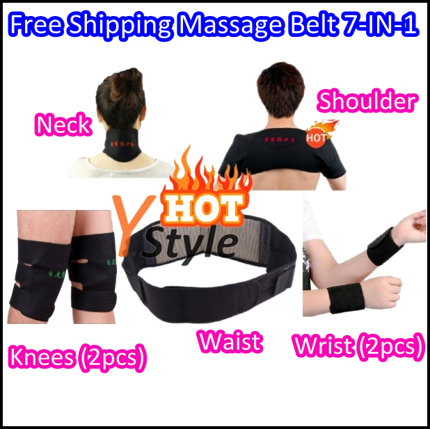 7-IN-1 Set Neck Massage Pads Free 1PCS China Post Shipping Shoulder Magnetic Pads Wrist Protector Waist Belt Knees Protectors