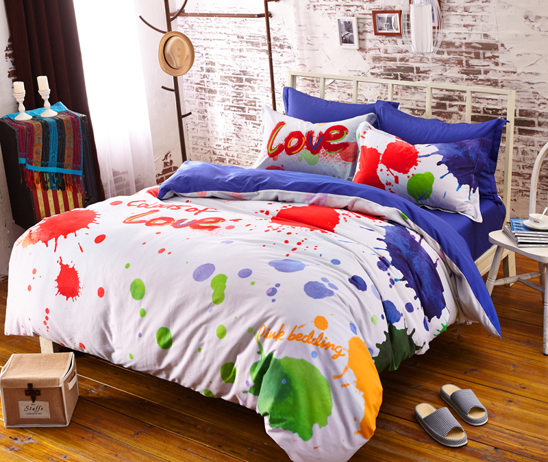 Designer Bedding Brand Bedding Set Colorful Bright Color Comforter Sets Bed Linens For Girls Queen Conforter Set Roupa de Cama(China (Mainland))