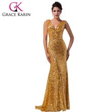 Gnade Karin Luxus sexy Doppel tiefen V Schwarz Blau golden rot Abendkleider Lange formale Pailletten Meerjungfrau Abendkleider 6052(China (Mainland))