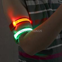 FreeshippingFlash Led Safety Reflective Belt Strap Snap Wrap Arm Band Belt Shine Armband(China (Mainland))