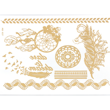 AB37 leaf flower  jewelry sticker tattoo metallic golden flash tattoos tattoo large temporary tattoo prices sticker