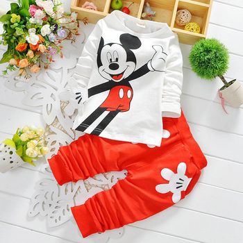 Fashion baby Cartoon clothing Suits Girls boys Minnie Mouse clothes baby 100% cotton shirts+pants 2pcs Children Clothing Set
