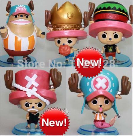 """5pcs/set Cute 3"""" One Piece Tony Tony Chopper 5 Different Image PVC Action Figure Collection Model Toy(China (Mainland))"""